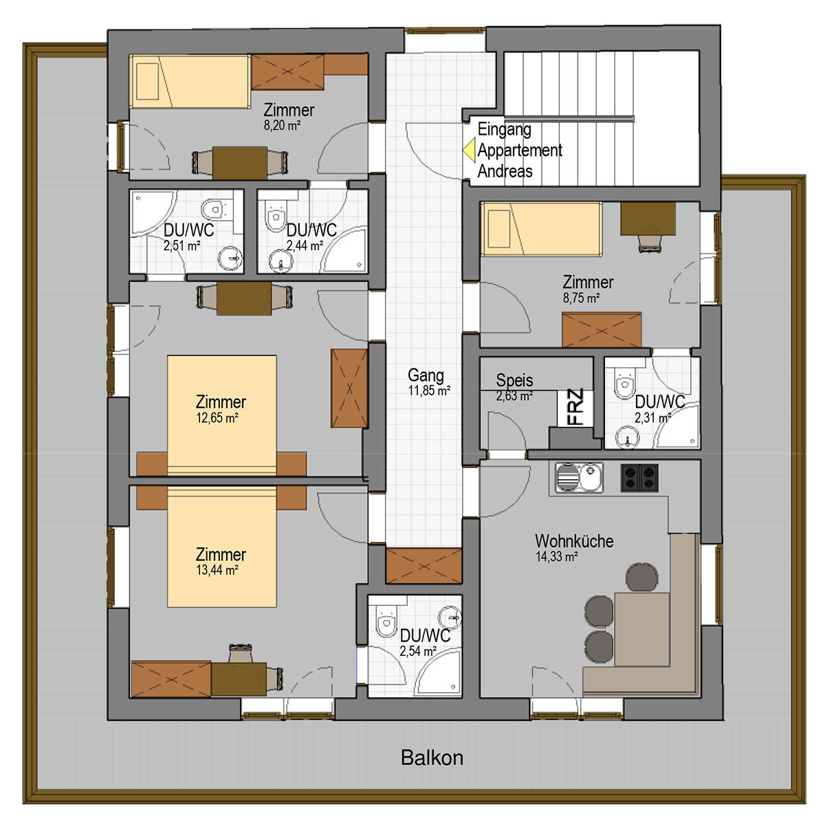 Apartment andreas floor plan grundriss appartement andreas